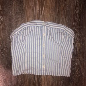 Baby blue striped button down strapless top